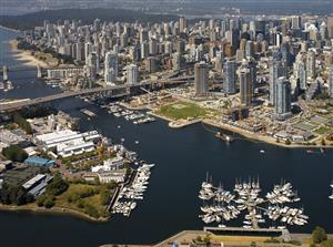 Aerial view of the city of Vancouver in British Columbia in western Canada.
